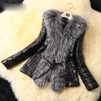 Fashion Vintage Slim Fit Women's Jackets Artificial Fox Fur+PU Leather Spliced Warm Lady Fur Coat 2014 New A849 Free Shipping