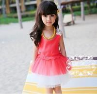 2014 Summer New Arrival Children's Clothing Fashion Girl's Princess Dress High Quality Chiffon Dress Free Shipping