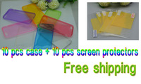 10pc new arrival 0.5mm super thin tpu case +10pc clear screen protector (10pc film+10 cloth) for iphone 5/5s, Free Shipping