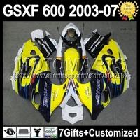 For SUZUKI KATANA GSXF600   K6A130 Yellow CORONA GSX600F 2003 2004 2005 2006 2007 GSXF 600 03 04 05 06 07 Fairing Yellow blue