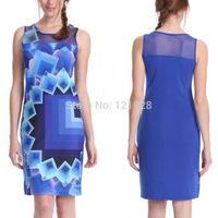 Drop shipping Women Summer New Brand Dress Elegant Sleevless Print dresses for Women PARTY Clubwear Mini Bandage Bodycon Dress