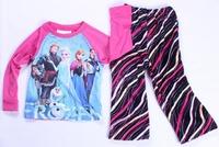 2014 New Frozen Elsa Anna Girls Long Sleeve Knitting Cotton Top + Fleece Pants Pyjamas Pajama Sets 8sets/lot Size 3T-10T