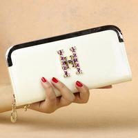 Fashion new ms bright skin set auger wallet zipper long wallet women wallets