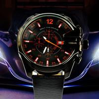 2014 DZ selling top brand men's leather strap watch atmospheric clock, quartz watch military watch DZ4291 digital watch Relogio