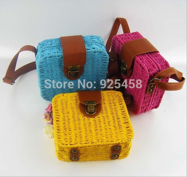 Women Fashion Beach Vacation Straw Bag Tote Bag summer Paper straw messenger bags(China (Mainland))