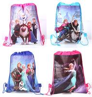 2014 New Frozen Anna Elsa Bag School Bags Baby Girs Boys Kids Children Bebe Infantil Backpacks Pocket Drawstring Cartoon Gift