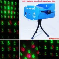 new mini Red Green Laser 6 patterns Christmas projector Party DJ Lighting lights Disco bar Dance xmas stage Light show XL79 free