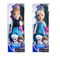2014 New Real Frozen Princess Musical Anna Elsa Doll Toys 47cm Height with Crown Girl Favorite Gifts High Quality Imitation One