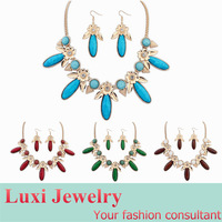 Fashion Bohemian Jewelry Set  Alloy  Resin Necklace & Drop Earring Set  for Lady Gift Multi 4 Colors