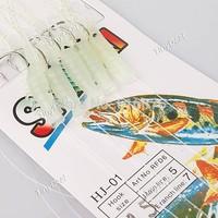 20pcs Sabiki Soft Fishing Lure Rigs Luminous Shrimp Bait Jigs Lure fishing minnow spoon jigs fishing hooks