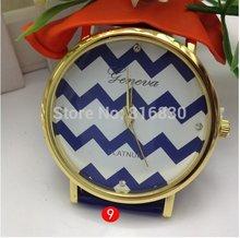 Classic Chevron Geneva PU Leather Chain Girls Watch Candy Colored Fashion Women Jewelry Wholesale Jewelry Free