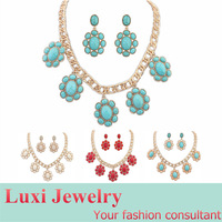National Style Retro Stone Jewelry Set  Alloy  Necklace & Drop Earring Set  for Lady Gift Multi 4 Colors