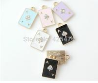 Fashion jewelry charm.11*18mm.Ab crystal rhinestones paved oil drop poker shape alloy jewelry charms.