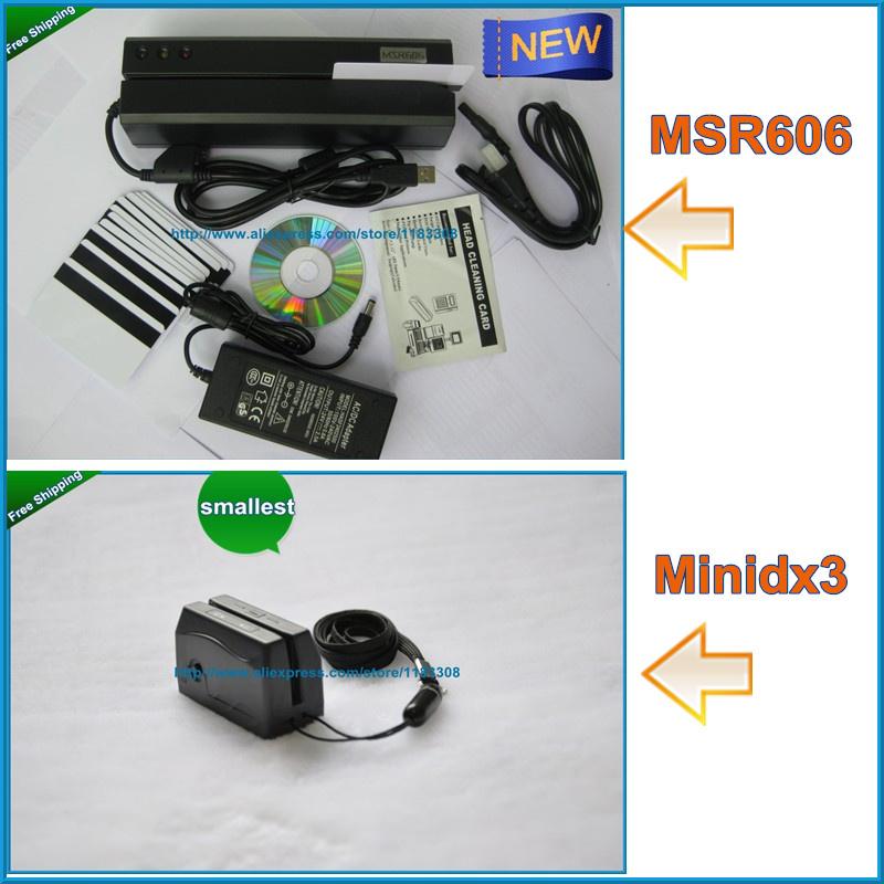 MSR606 Card reader Writer Encoder+smallest Mini123 HiCo portable card reader(China (Mainland))