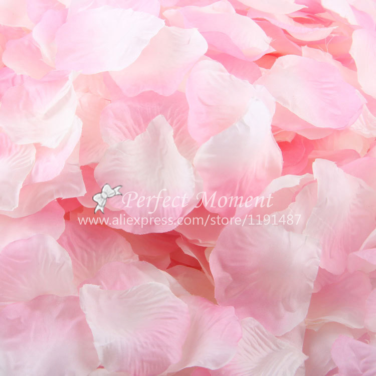 Free Shipping Wholesale 1200pcs/lot Gradient White and Pink Satin Rose Petals Wedding Decorations/Wedding Flower/Garden Supplies(China (Mainland))