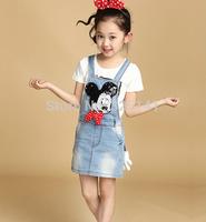 Fress shipping girl dress minnie mouse Baby girl's cowboy suspender dress Girl's Denim strap dress Girl's Denim dresses