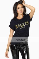 Free Shipping! 2014 Summer new gold printing famous brand high quality women t-shirt 6 size in stock