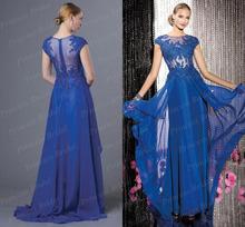 Free Shipping 2014 Fashion Women s Sheath Sheer Back Floor Length Chiffon Cap Sleeve Prom Dress