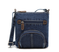 On sale! All-match preppy style casual denim messenger bag men jean over the shoulder bag womens ladies blue crossbody pocket