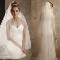 New Simple 2 Layers White Cut Edge Soft Tulle Wedding Veils Bridal Accessories With Comb