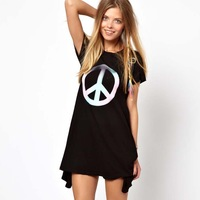 Free Shipping! New 2014 summer women labeled transition peace printing casual dress winter dress black 5 size