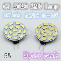 Free shipping, 570LM bright  LED 5W bulb. 15pcs 5630 SMD AV/DC10-30V, quality assurance 5pcs/lot