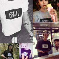 Summer vintage street pigalle box logo short-sleeve T-shirt hiphop skateboard shirt