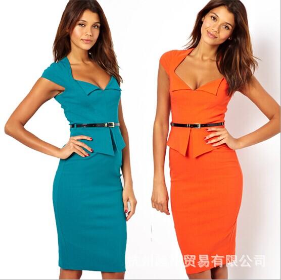 Ebay new fashion women's autumn spring sexy casual work business sheath cute dresses ol slim ruffle one-piece dress with belt(China (Mainland))