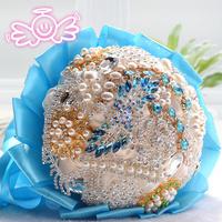 Free Shipping new luxury diamond blue bridal bouquets wedding gift wedding gifts