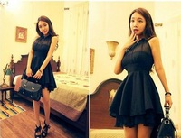 Summer New 2014 Women Cloth Chiffon Fashion Dress Backless Sleeveless Tank Vest Dress Gauze Tutu Black and Rose Red M L Size