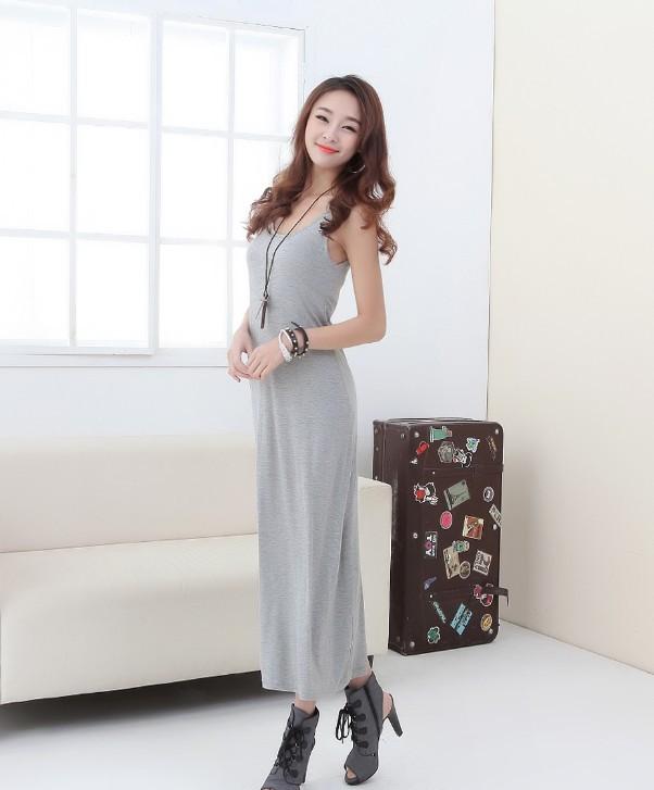 2014 New Arrive Fashion Milk silk Ladies Dresses Stripe Long Dress Sleeveless Vest Dress Vestidos(China (Mainland))