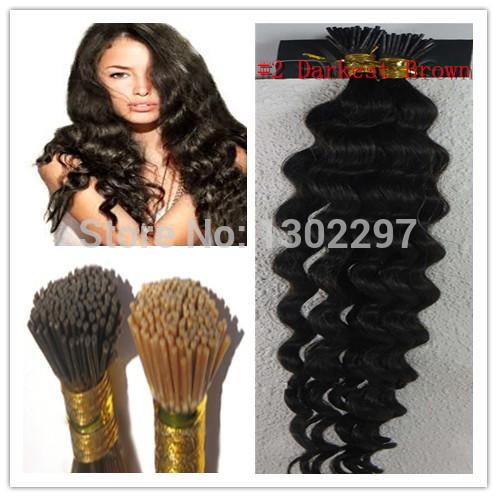 Rainha de cabelo humano brasileiro profundo virgem cabelo # 2 Darkest Brown I Dica queratina Glue suave Remy extensão do cabelo humano 100S(China (Mainland))