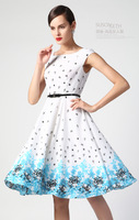 2014 the new printed sleeveless chiffon cultivate one's morality dress vest skirt dress LYQ - 178