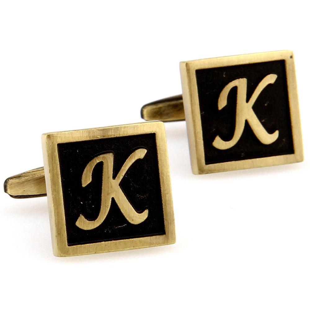 Raro letra extravagante K ouro e preto cor quadrado abotoaduras dos homens do casamento do noivo camisa abotoaduras presente de aniversário 167773(China (Mainland))