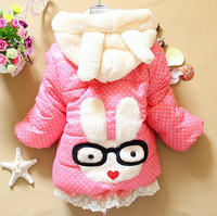 New baby girls Cartoon rabbit cotton-padded jacket to keep warm winter children cotton-padded clothes is free shipping