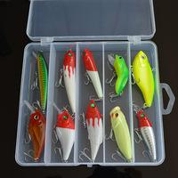 Free Shipping! Fishing Lure Kit 1 Set 10pcs go with Tool Box, Hard Bait Including Popper Pencil Crank Minnow VIB