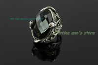 New Viennois 18K  Plated Platinum Black Austria Crystal Diamond Ring Fashion Witch Flower Punk Ring Free Shiping
