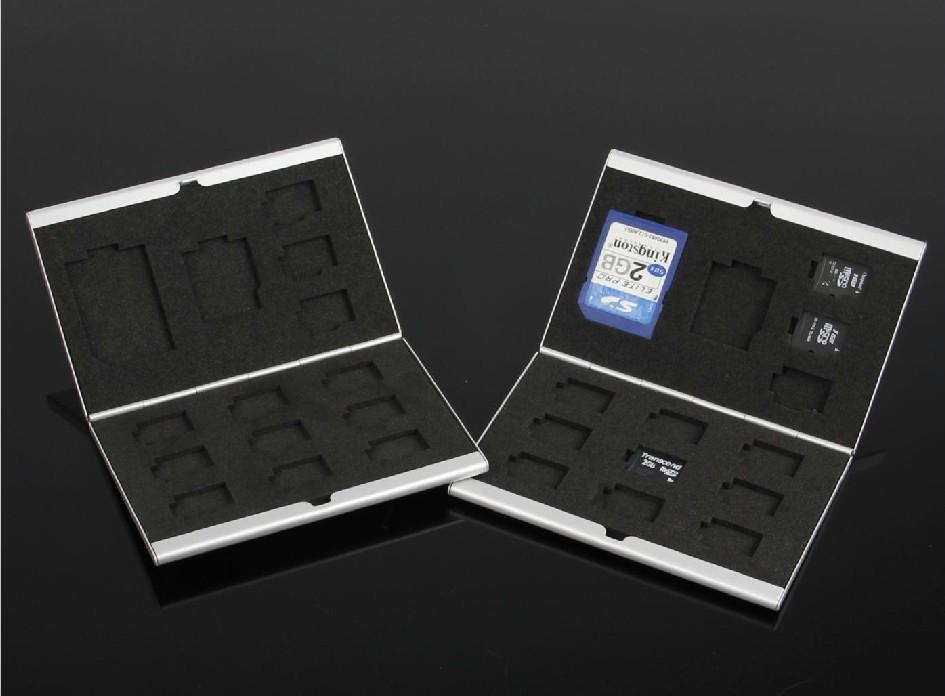 Itemship 1 * SD 1 * mini SD 12 * TF grade aluminum - Memory Card Box - Flash memory card storage box free shipping(China (Mainland))