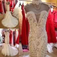 free shipping new 2014 luxury super flash show thin crystal diamond strapless accept waist with luxury fishtail wedding dress