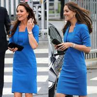 Women's Dress Work Dress Princess Kate Dress OL Slim Elegant Dress Blue Color Dress S M L XL