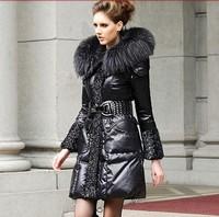 2014 Newest Europe Style Down Coat 90% white down 10% feather Luxury Fur Collar Belt Winter Long Down Jacket S-XXXXXL