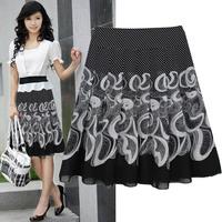 Free shipping new fashion summer 2014 female plus size 3xl 4xl 5xl flower print chiffon saias femininas dancing skirts womens
