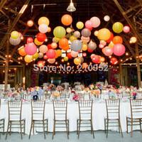 Free shipping 10pcs mixed 2 sizes(10cm,30cm)  Chinese round paper lantern , Wedding/Party/Nursery Decor, Baby shower Decoration