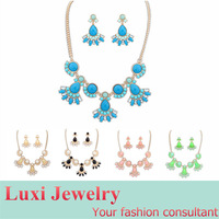 Sweety All-Match Candy Color Jewelry Set  Alloy  Acrylic Necklace & Drop Earring Sets  for Lady Gift Multi 4 Colors