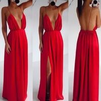 High Split Women Dress Evening Party Elegant Long Dress 2014 New Sexy Dress Red Spaghetti Strap Backless Pleated Maxi Dress