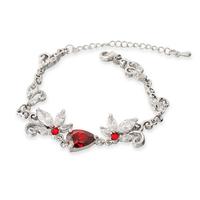 Good! New Style Handmade Charm Bracelets & Bangles European Crude Metal Zircon Flower Bracelet Red Chain Bracelets Factory Price