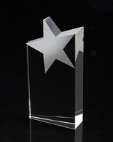 High quality hot selling crystal star tower trophy five star crystal  trophy crystal star award with free engraving