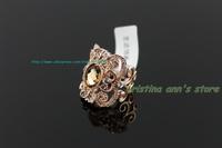18K Plated Platinum Austria Crystal Brown Ring Fashion Women Super shiny Ring  Free Shipping