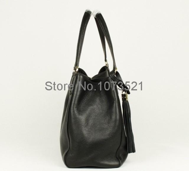 Genuine Leather Calfskin double G 282309 Large Handbag tassel women Shoulder Bags Black Red Tote Bag Free shipping(China (Mainland))