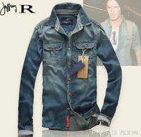 High Quality Men's Denim Shirts Long Sleeve Jean Jacket Outerwear Casual Retro Vintage Jean Shirts Autumn Shirts Male J1937
